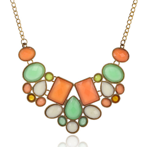 geometry gem beads statement choker necklace for women