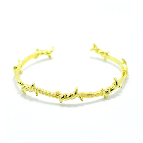 punk style twist thorns adjustable open cuff bracelet
