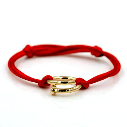 gold color stainless steel screw red rope bracelet
