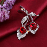 elegant double crystal flower brooch pin for women