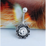 crystal rhinestone belly button ring dangle