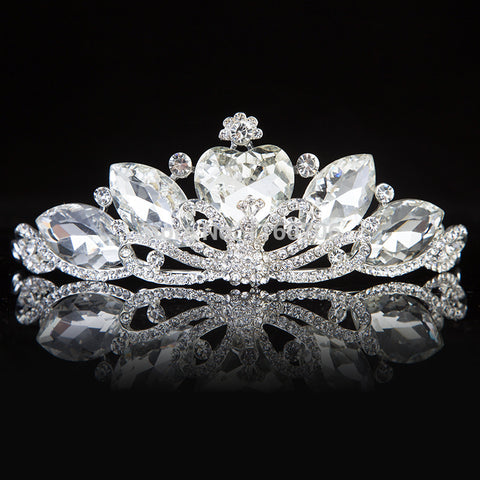 elegant rhinestone crystal heart bridal tiara crown hair Jewelry