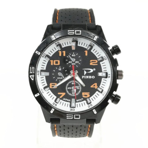 elegant sport quartz silicone wrist watch for men