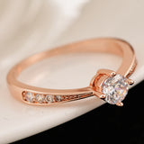 luxury gold color zirconia ring for women
