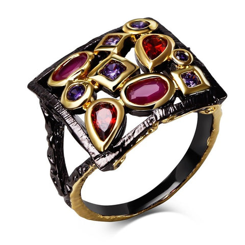 vintage black color square with colorful cz crystal ring for women