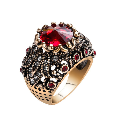 vintage antique gold color big crystal stone ring for women