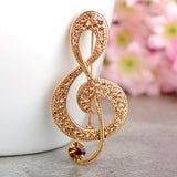 trendy large rhinestone music note brooch pin jewelry