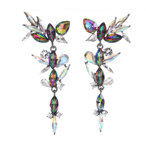 luxury colorful long drop earrings for women