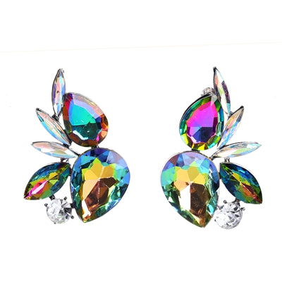 luxury colorful geometric glass stud earrings for women