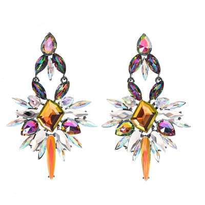 luxury colorful glass long drop earrings for women