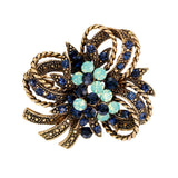 elegant crystal flower shape brooch pin for women