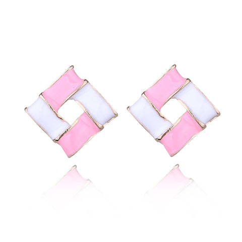 elegant candy color square drop earrings for women