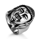 stainless steel buddha head ring