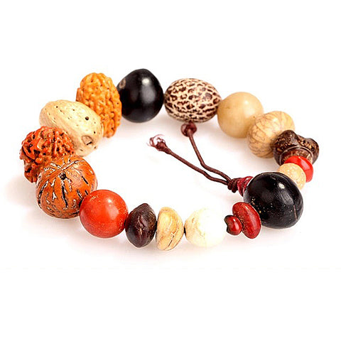 ethnic buddha prayer beads wood seeds bracelet