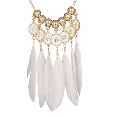 bohemia long white feather pendant gold beads necklace