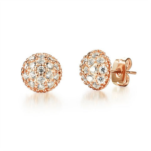 gold color stainless steel flower stud earrings for women