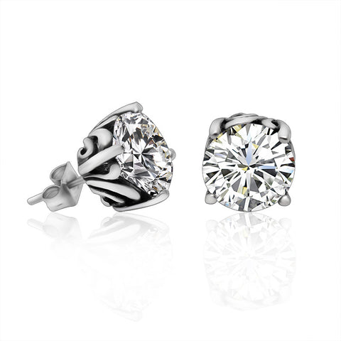 titanium steel flash zircon stud earrings