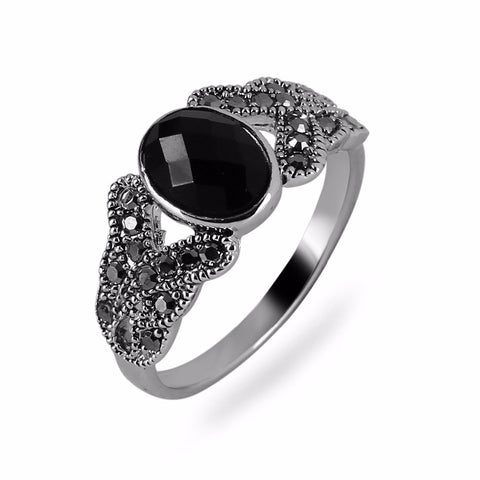 vintage black onyx stone ring for women