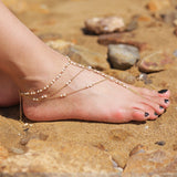 elegant gold color silmulated pearl beaded foot chain anklet