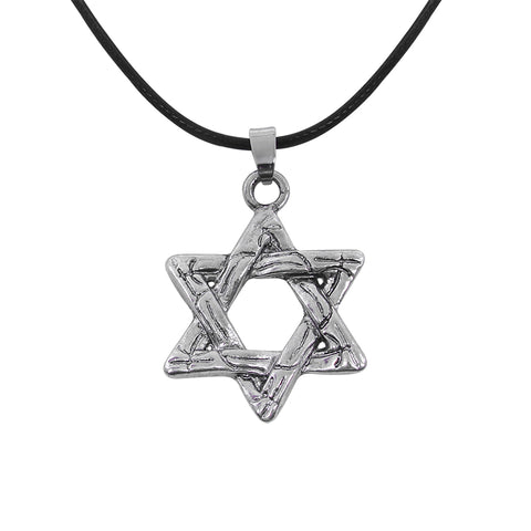 stainless steel silver color star of david pendant rope necklace