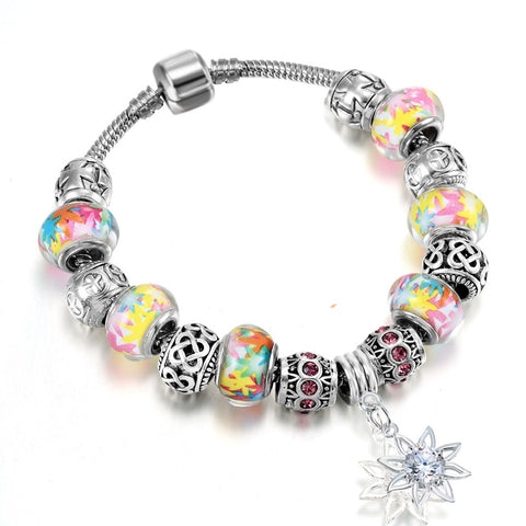 colorful glass beads sun flower pendant bracelet for women