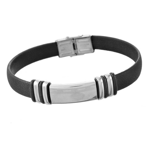 black pu leather stainless steel charm bracelet for men