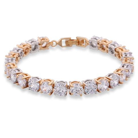 luxury crystal cz chain link charm bracelet for women