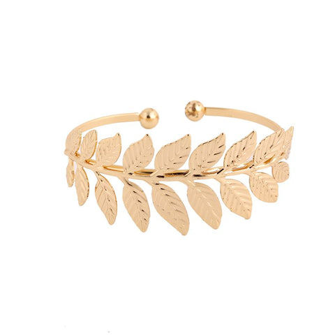 silver/gold color open leaf bracelet & bangle for women