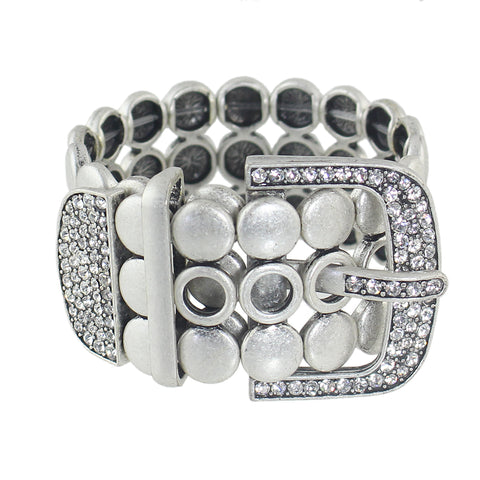 trendy silver color link bracelet with rhinestone for women