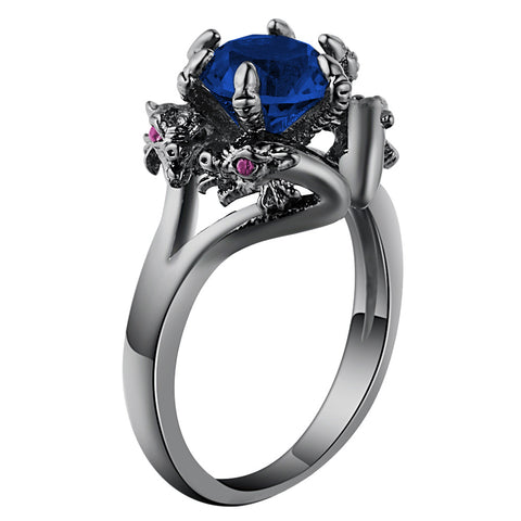 black gold filled blue cz crystal dragon ring