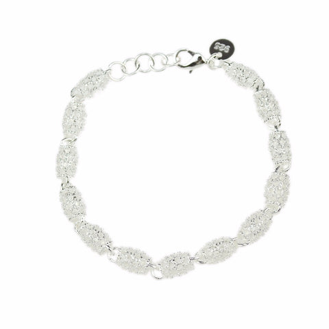 silver color hollow out crystal beads bracelet for women