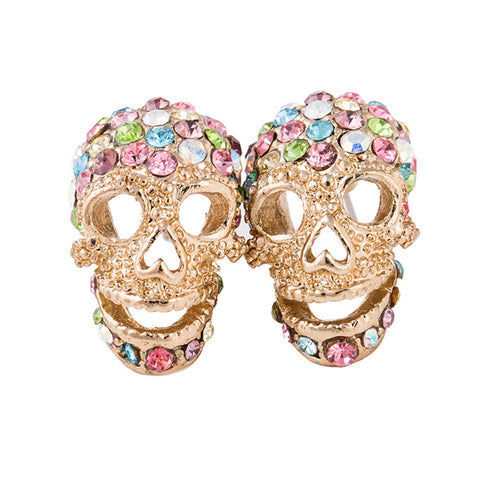 hip hop style silver plated skull stud earrings