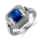big blue stone square old plated ring for women