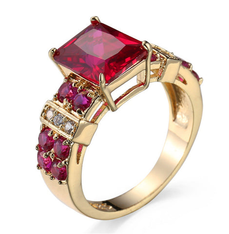 natural red corundum stone ring for women