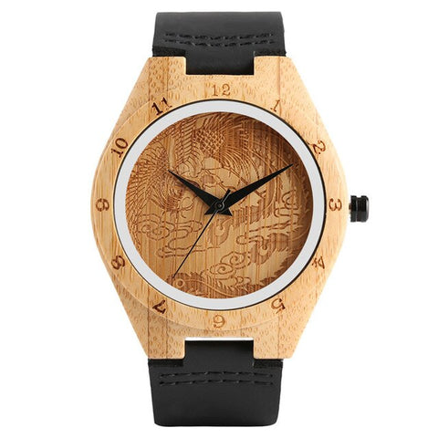 trendy carved pattern dial wooden case quartz wrist watch for men