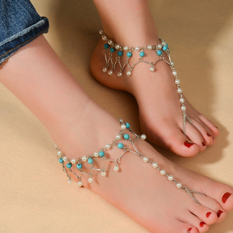 imitation pearl chain anklet for women