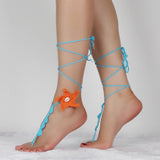 cotton crochet circle orange starfish anklet for women