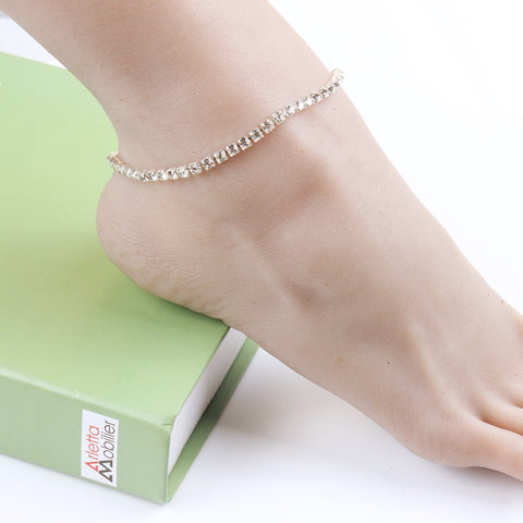 single layer crystal beads anklet for women