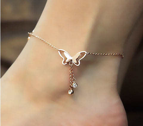 elegant butterfly tassel charm anklet for women