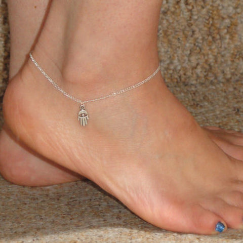 simple hamsa hand shape anklet for women
