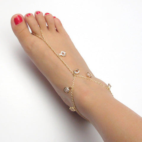 crystal round charm gold anklet for women