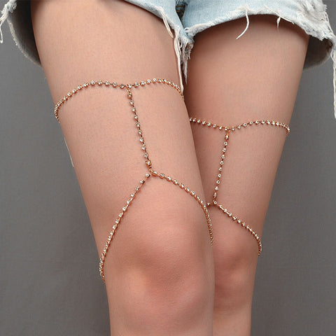 sexy rhinestone leg chain body necklace anklet for women