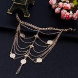 coin pendant link chain anklet for women