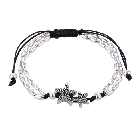 bohemian style silver color coral reef anklet for women