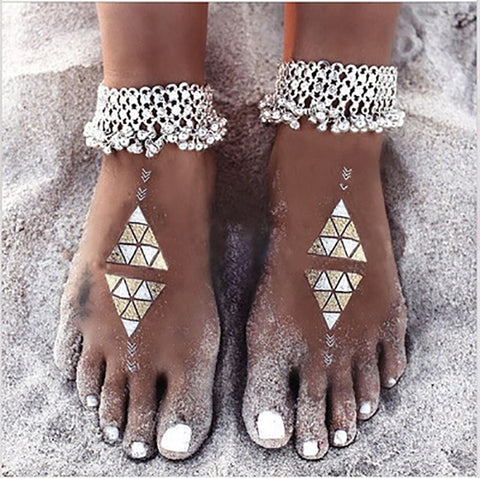 vintage silver chain bell beads anklet for women