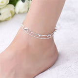 double layer dolphin charm chain anklet for women