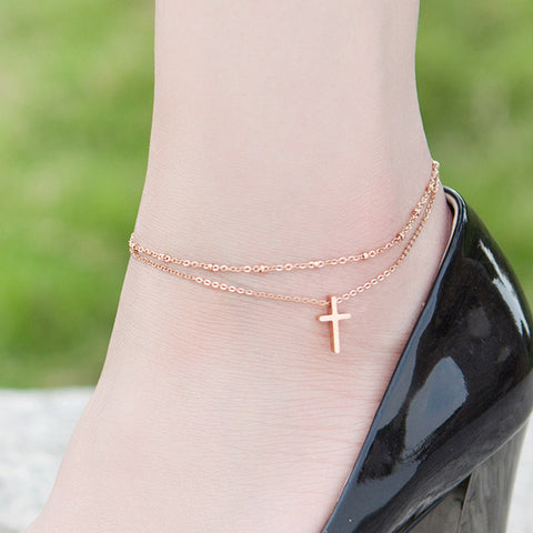 titanium steel rose gold color cross anklet for woman