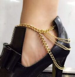 sexy gold tone 3 row drapped anklet chains for women