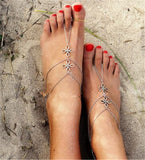 silver color flower shape chain anklet for women