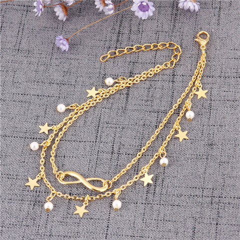 simple double chain infinity beads star anklet for women